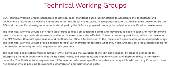 EEA Technical Working Groups